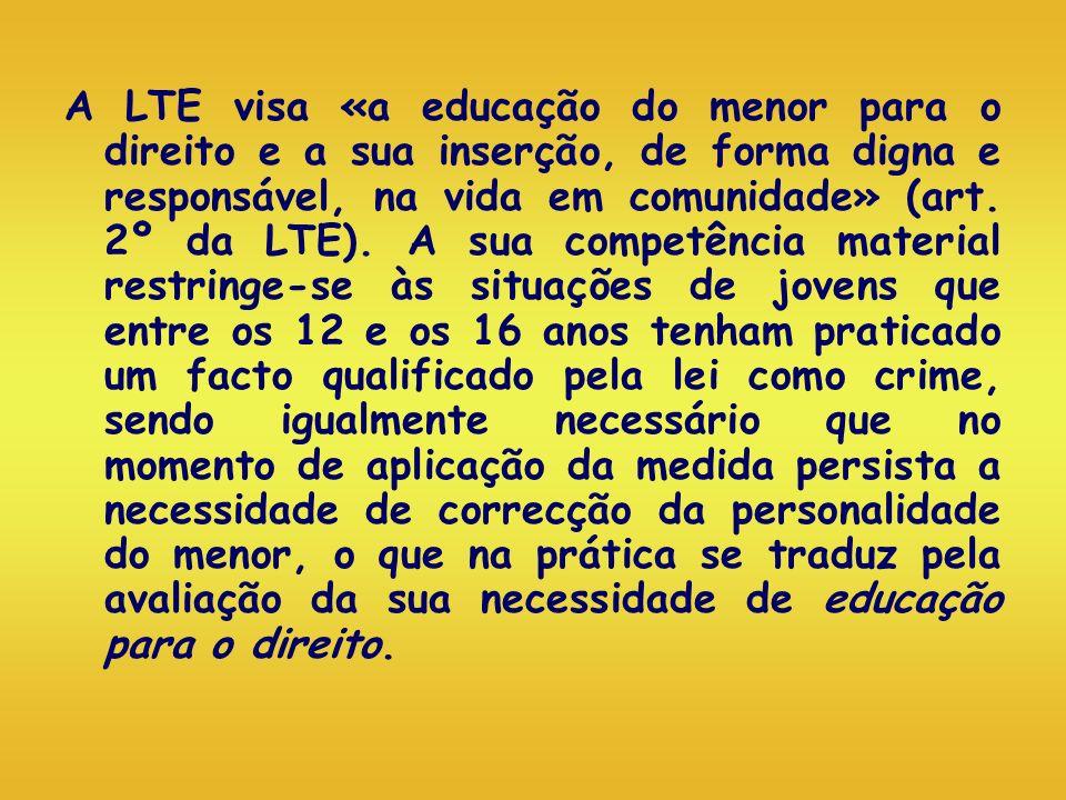 A LTE visa «a educação do menor para o direito e a sua inserção, de forma digna e responsável, na vida em comunidade» (art. 2º da LTE). A sua competên