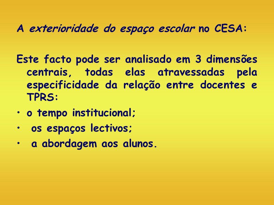 A exterioridade do espaço escolar no CESA: Este facto pode ser analisado em 3 dimensões centrais, todas elas atravessadas pela especificidade da relaç