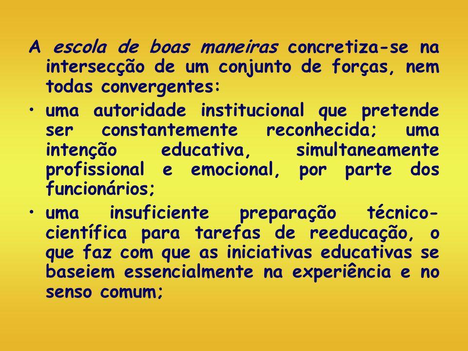 A escola de boas maneiras concretiza-se na intersecção de um conjunto de forças, nem todas convergentes: uma autoridade institucional que pretende ser