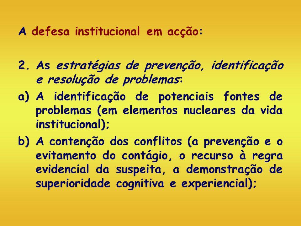 A defesa institucional em acção: 2. As estratégias de prevenção, identificação e resolução de problemas: a)A identificação de potenciais fontes de pro