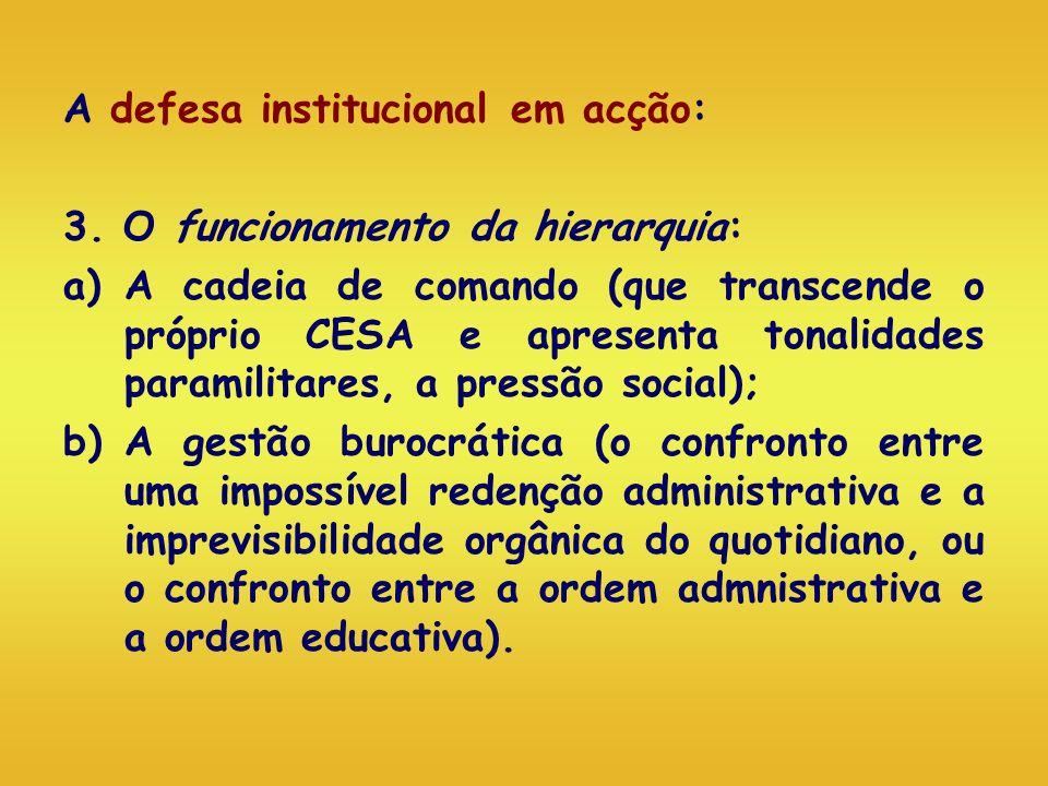 A defesa institucional em acção: 3. O funcionamento da hierarquia: a)A cadeia de comando (que transcende o próprio CESA e apresenta tonalidades parami