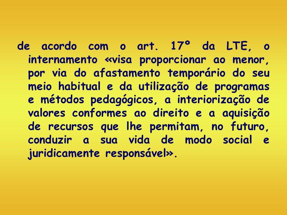 de acordo com o art. 17º da LTE, o internamento «visa proporcionar ao menor, por via do afastamento temporário do seu meio habitual e da utilização de
