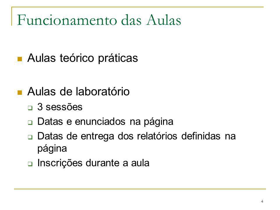4 Funcionamento das Aulas Aulas teórico práticas Aulas de laboratório 3 sessões Datas e enunciados na página Datas de entrega dos relatórios definidas