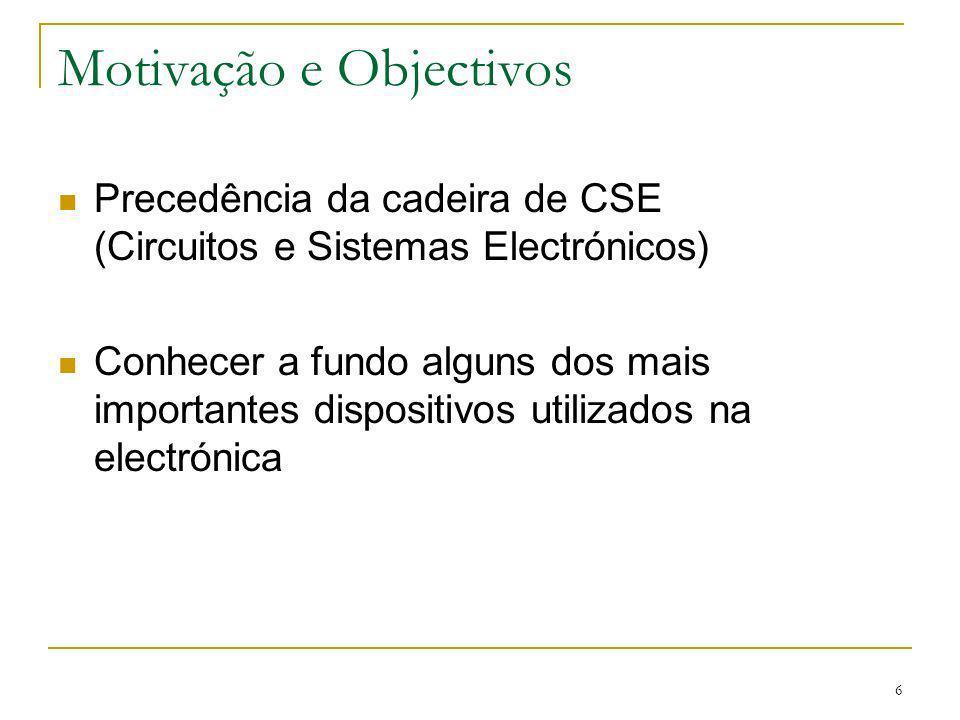 6 Motivação e Objectivos Precedência da cadeira de CSE (Circuitos e Sistemas Electrónicos) Conhecer a fundo alguns dos mais importantes dispositivos utilizados na electrónica