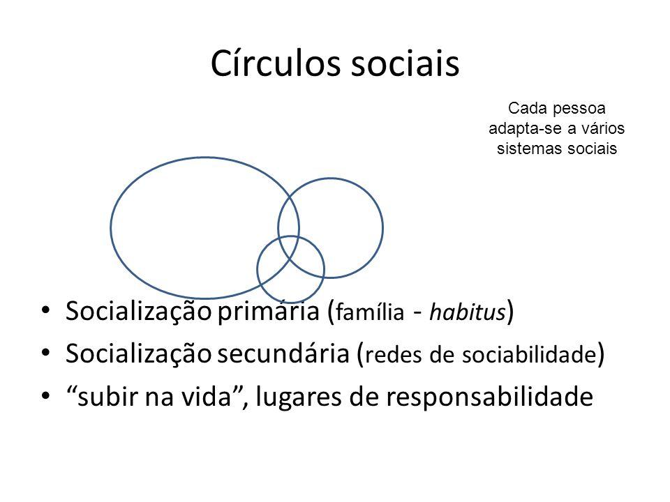 Círculos sociais Socialização primária ( família - habitus ) Socialização secundária ( redes de sociabilidade ) subir na vida, lugares de responsabilidade Cada pessoa adapta-se a vários sistemas sociais