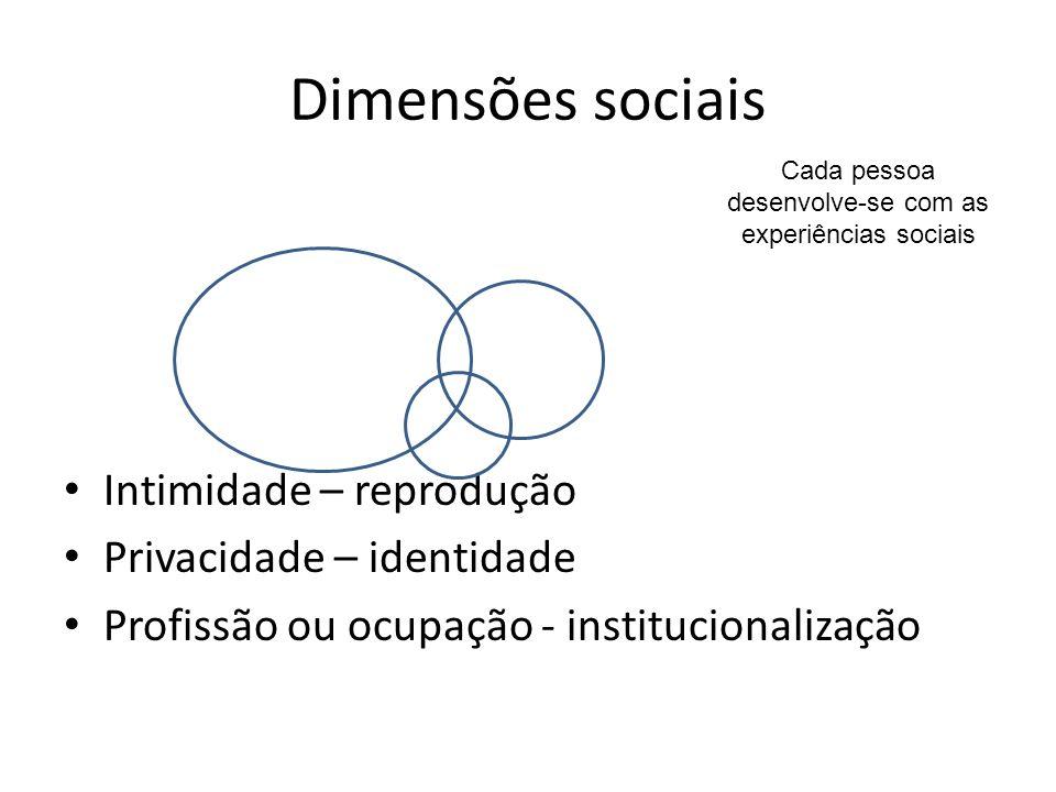 Dimensões sociais Intimidade – reprodução Privacidade – identidade Profissão ou ocupação - institucionalização Cada pessoa desenvolve-se com as experi