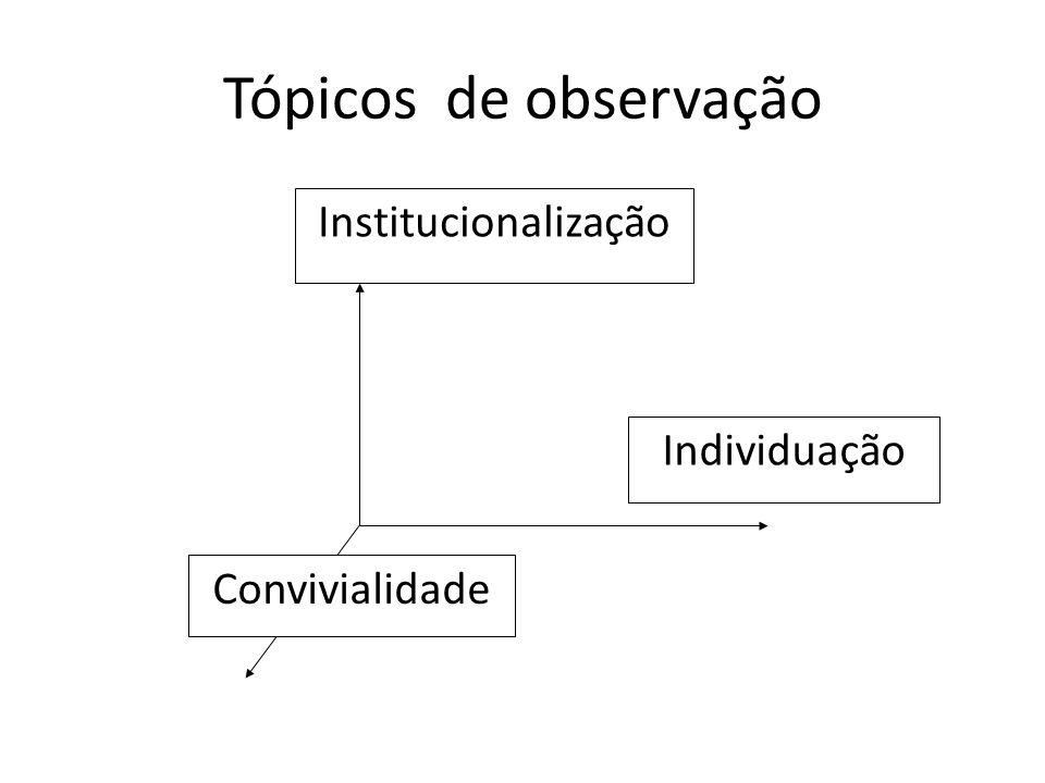 Tópicos de observação Institucionalização Individuação Convivialidade