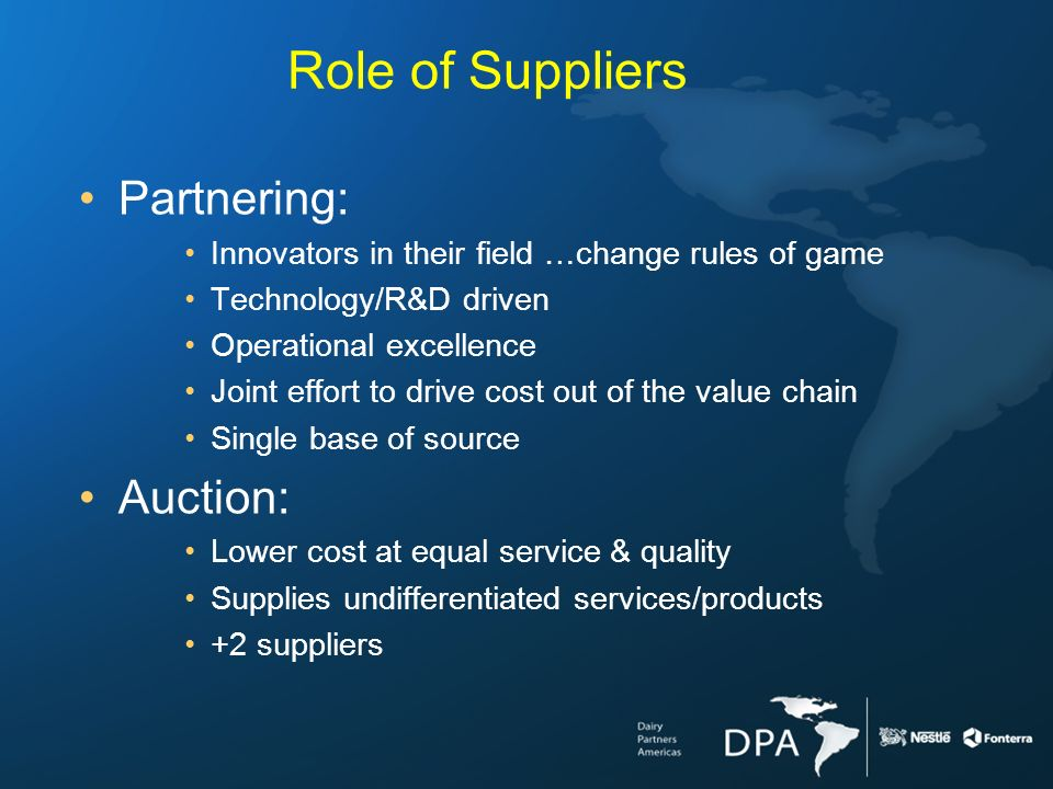 Role of Suppliers Partnering: Innovators in their field …change rules of game Technology/R&D driven Operational excellence Joint effort to drive cost out of the value chain Single base of source Auction: Lower cost at equal service & quality Supplies undifferentiated services/products +2 suppliers
