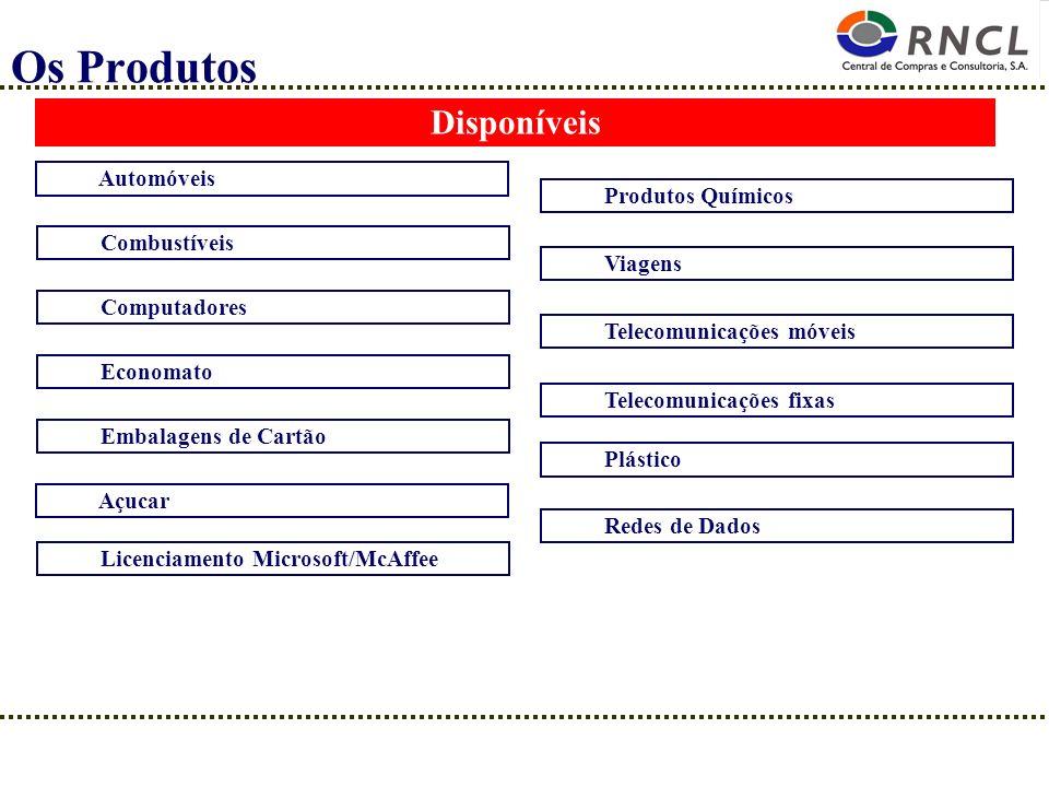 Os Produtos Disponíveis Automóveis Combustíveis Computadores Economato Embalagens de Cartão Açucar Licenciamento Microsoft/McAffee Produtos Químicos V