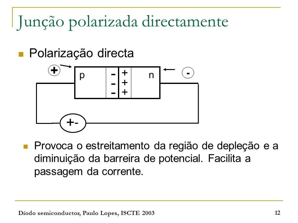 Díodo semiconductor, Paulo Lopes, ISCTE 2003 12 Junção polarizada directamente Polarização directa pn - - - + + + + - + - Provoca o estreitamento da r