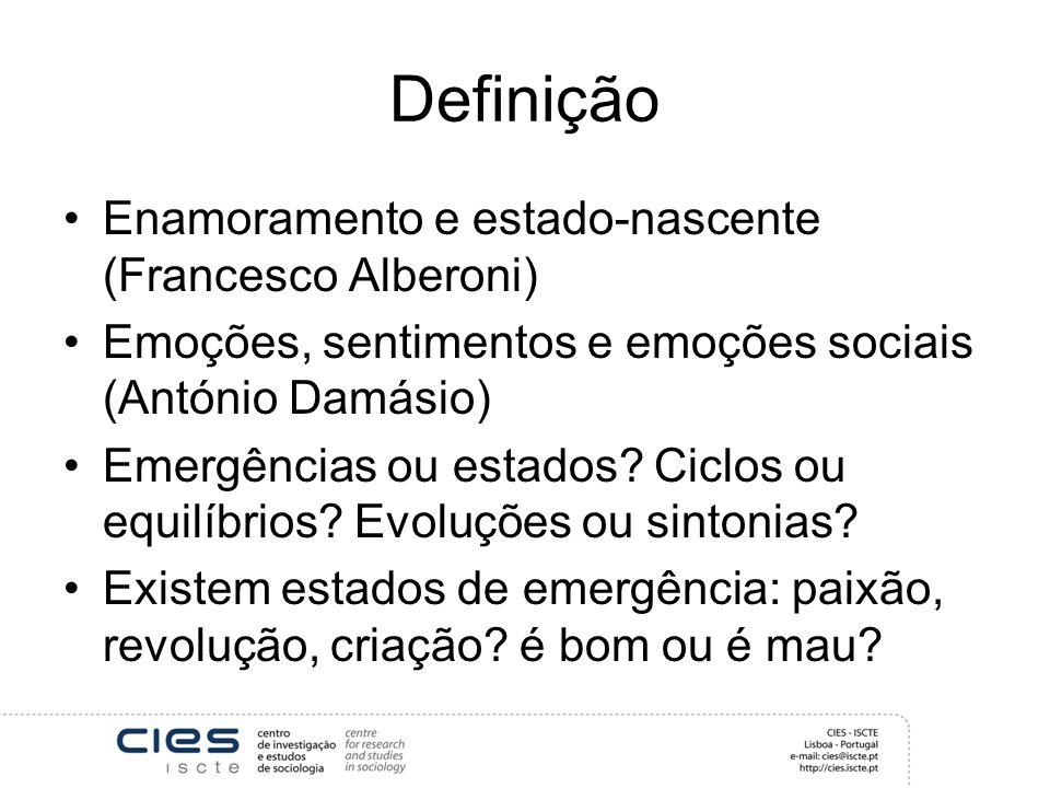 Definição Enamoramento e estado-nascente (Francesco Alberoni) Emoções, sentimentos e emoções sociais (António Damásio) Emergências ou estados? Ciclos