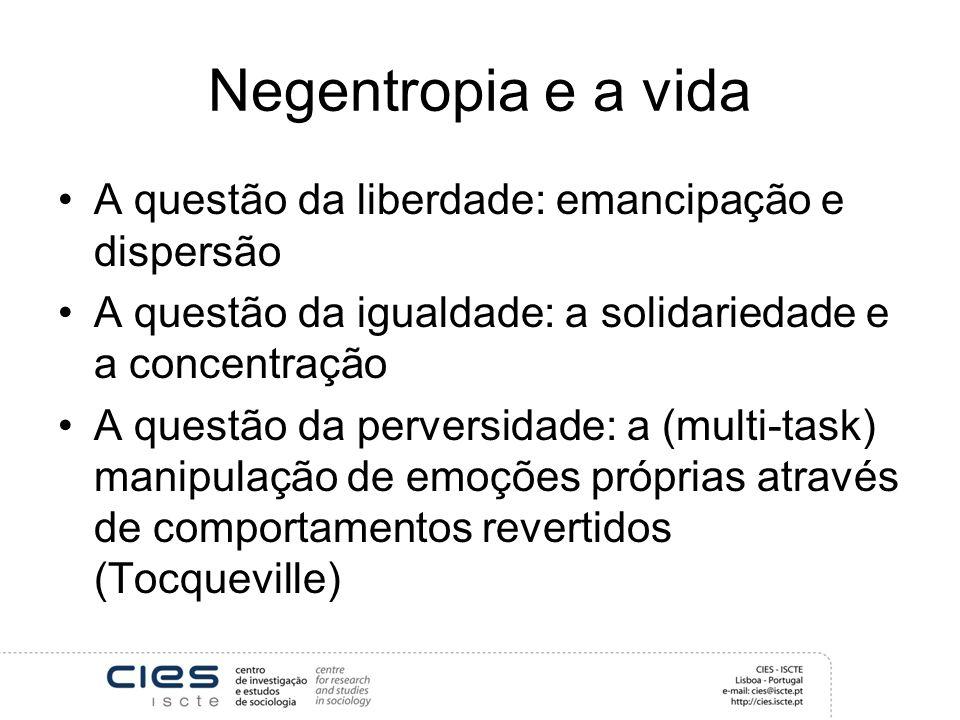 Negentropia e a vida A questão da liberdade: emancipação e dispersão A questão da igualdade: a solidariedade e a concentração A questão da perversidad