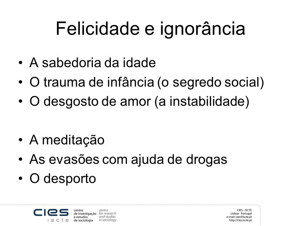 Felicidade e ignorância A sabedoria da idade O trauma de infância (o segredo social) O desgosto de amor (a instabilidade) A meditação As evasões com a