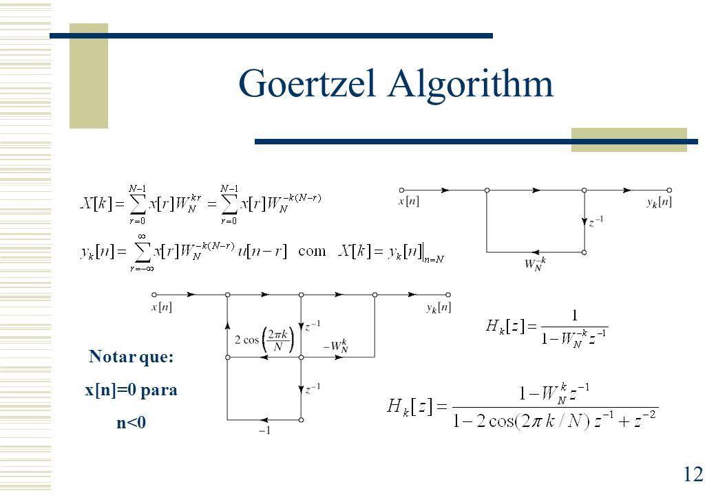 12 Goertzel Algorithm Notar que: x[n]=0 para n<0