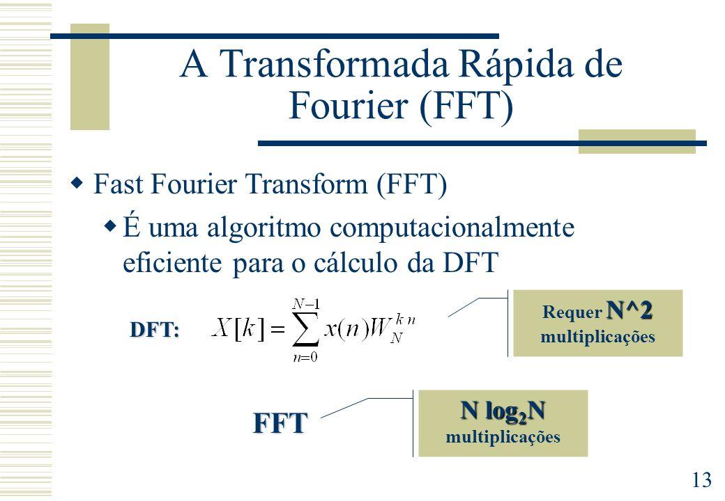 13 A Transformada Rápida de Fourier (FFT) N^2 Requer N^2 multiplicações Fast Fourier Transform (FFT) É uma algoritmo computacionalmente eficiente para