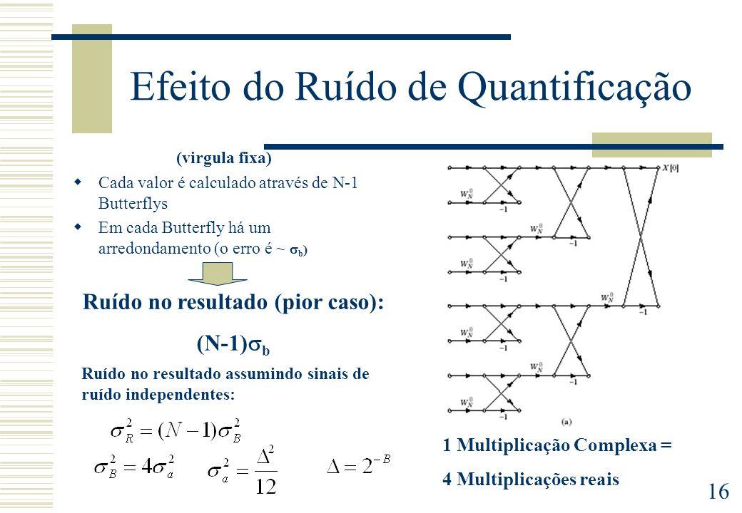 16 Efeito do Ruído de Quantificação (virgula fixa) Cada valor é calculado através de N-1 Butterflys Em cada Butterfly há um arredondamento (o erro é ~
