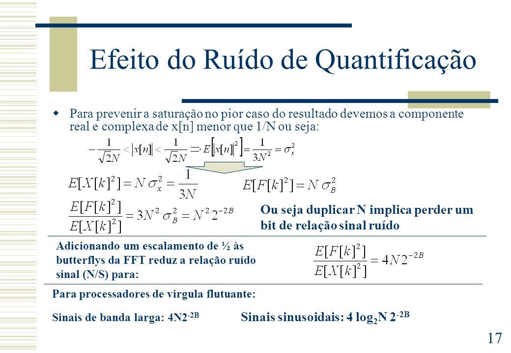 17 Efeito do Ruído de Quantificação Para prevenir a saturação no pior caso do resultado devemos a componente real e complexa de x[n] menor que 1/N ou