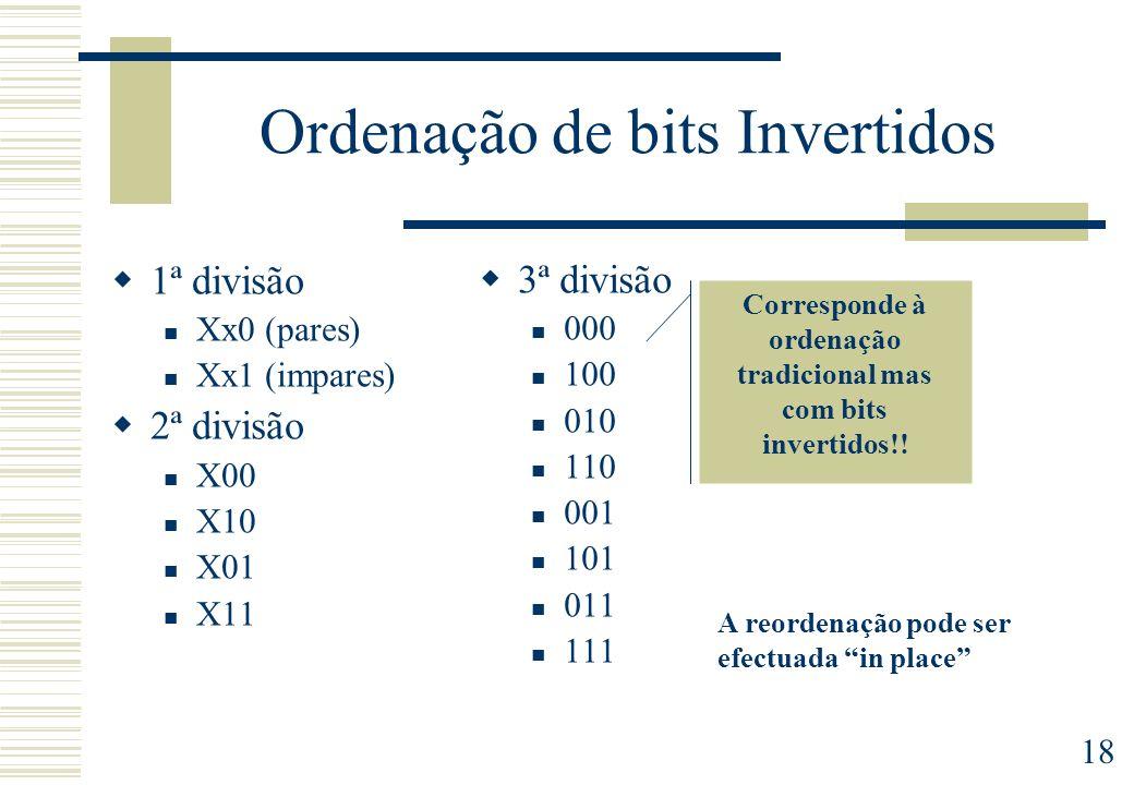 18 Ordenação de bits Invertidos 1ª divisão Xx0 (pares) Xx1 (impares) 2ª divisão X00 X10 X01 X11 3ª divisão 000 100 010 110 001 101 011 111 Corresponde