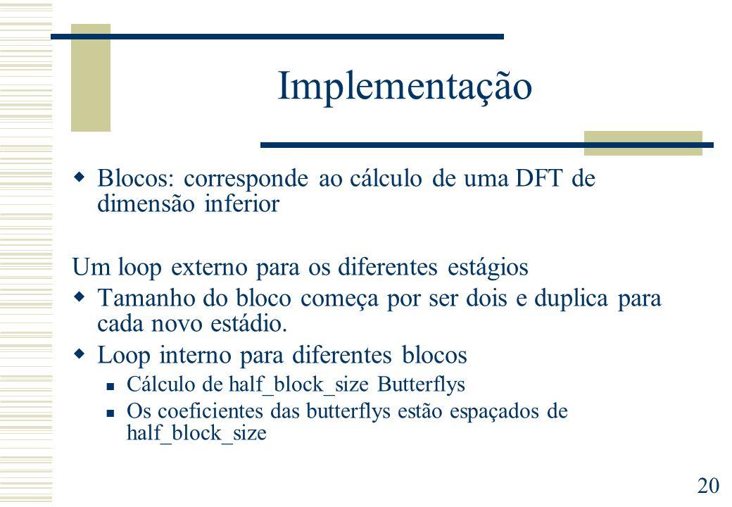 20 Implementação Blocos: corresponde ao cálculo de uma DFT de dimensão inferior Um loop externo para os diferentes estágios Tamanho do bloco começa po