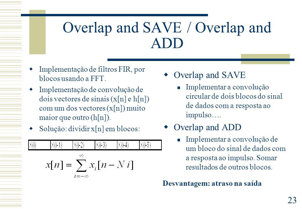 23 Overlap and SAVE / Overlap and ADD Implementação de filtros FIR, por blocos usando a FFT. Implementação de convolução de dois vectores de sinais (x