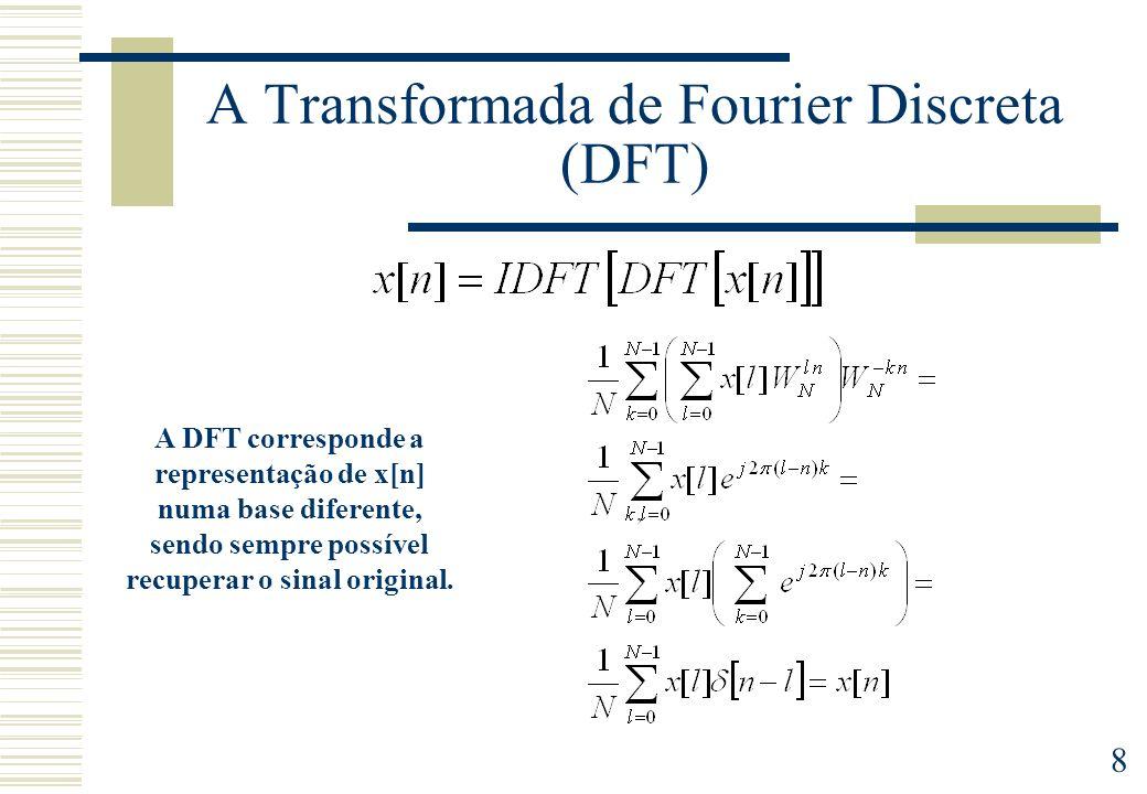 8 A Transformada de Fourier Discreta (DFT) A DFT corresponde a representação de x[n] numa base diferente, sendo sempre possível recuperar o sinal orig