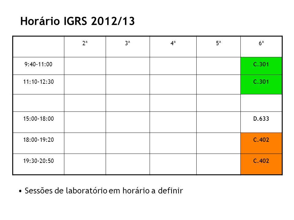 Horário IGRS 2012/13 2ª3ª4ª5ª6ª 9:40-11:00C.301 11:10-12:30C.301 15:00-18:00D.633 18:00-19:20C.402 19:30-20:50C.402 Sessões de laboratório em horário