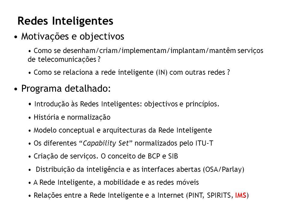 Redes Inteligentes Motivações e objectivos Como se desenham/criam/implementam/implantam/mantêm serviços de telecomunicações ? Como se relaciona a rede