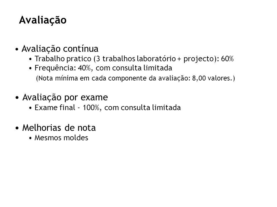 Avaliação Avaliação contínua Trabalho pratico (3 trabalhos laboratório + projecto): 60% Frequência: 40%, com consulta limitada (Nota mínima em cada co
