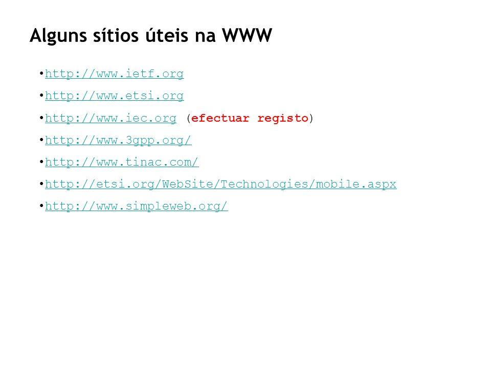 Alguns sítios úteis na WWW http://www.ietf.org http://www.etsi.org http://www.iec.org (efectuar registo)http://www.iec.org http://www.3gpp.org/ http:/