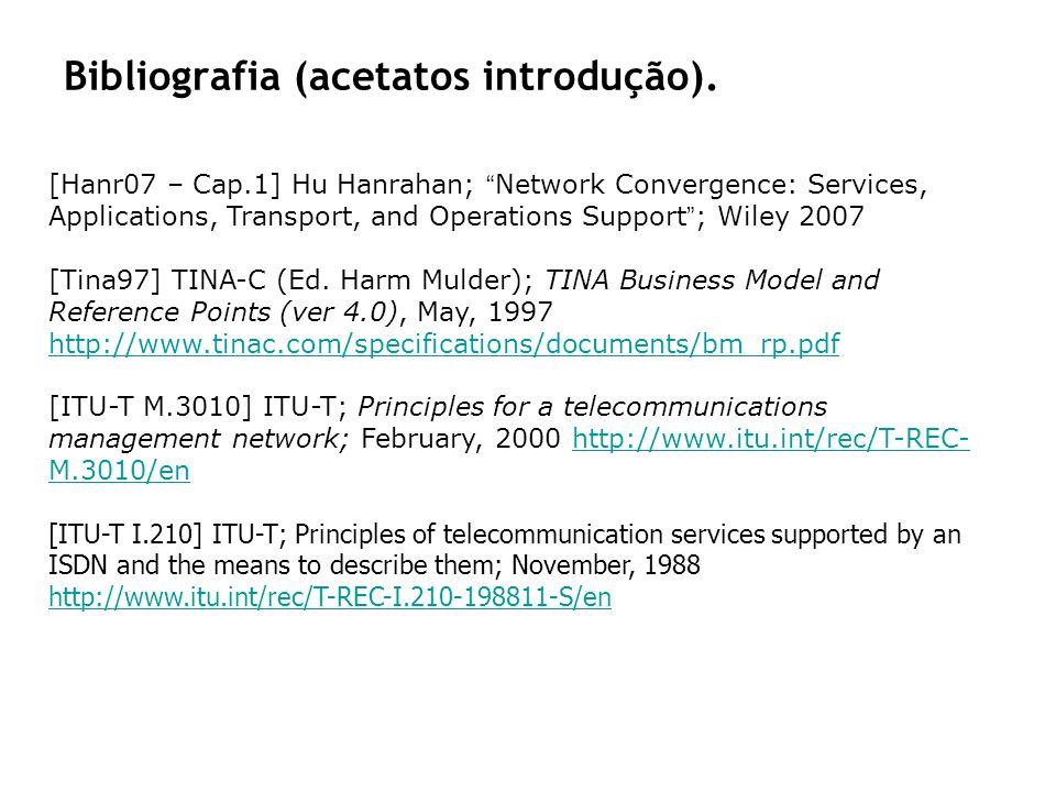 Bibliografia (acetatos introdução). [Hanr07 – Cap.1] Hu Hanrahan; Network Convergence: Services, Applications, Transport, and Operations Support; Wile