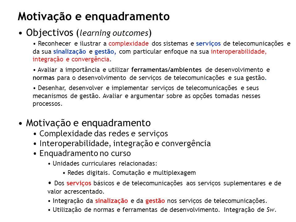 Motivação e enquadramento Objectivos ( learning outcomes ) Reconhecer e ilustrar a complexidade dos sistemas e serviços de telecomunicações e da sua s