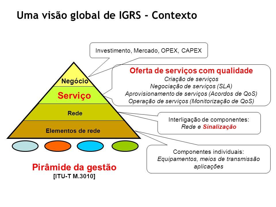 Uma visão global de IGRS - Contexto Negócio Serviço Rede Elementos de rede Componentes individuais: Equipamentos, meios de transmissão aplicações Inte