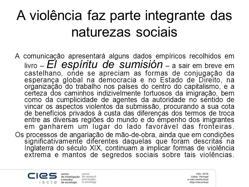 A violência faz parte integrante das naturezas sociais A comunicação apresentará alguns dados empíricos recolhidos em livro – El espíritu de sumisión
