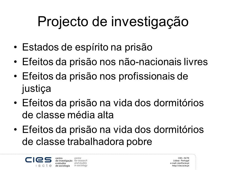 Projecto de investigação Estados de espírito na prisão Efeitos da prisão nos não-nacionais livres Efeitos da prisão nos profissionais de justiça Efeit