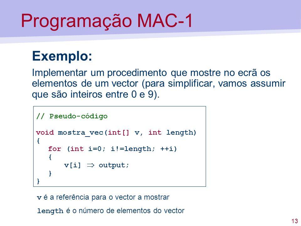 13 Programação MAC-1 Exemplo: Implementar um procedimento que mostre no ecrã os elementos de um vector (para simplificar, vamos assumir que são inteiros entre 0 e 9).