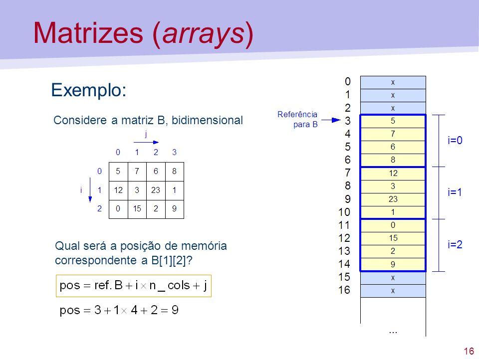 16 Matrizes (arrays) Exemplo: Qual será a posição de memória correspondente a B[1][2]? Considere a matriz B, bidimensional