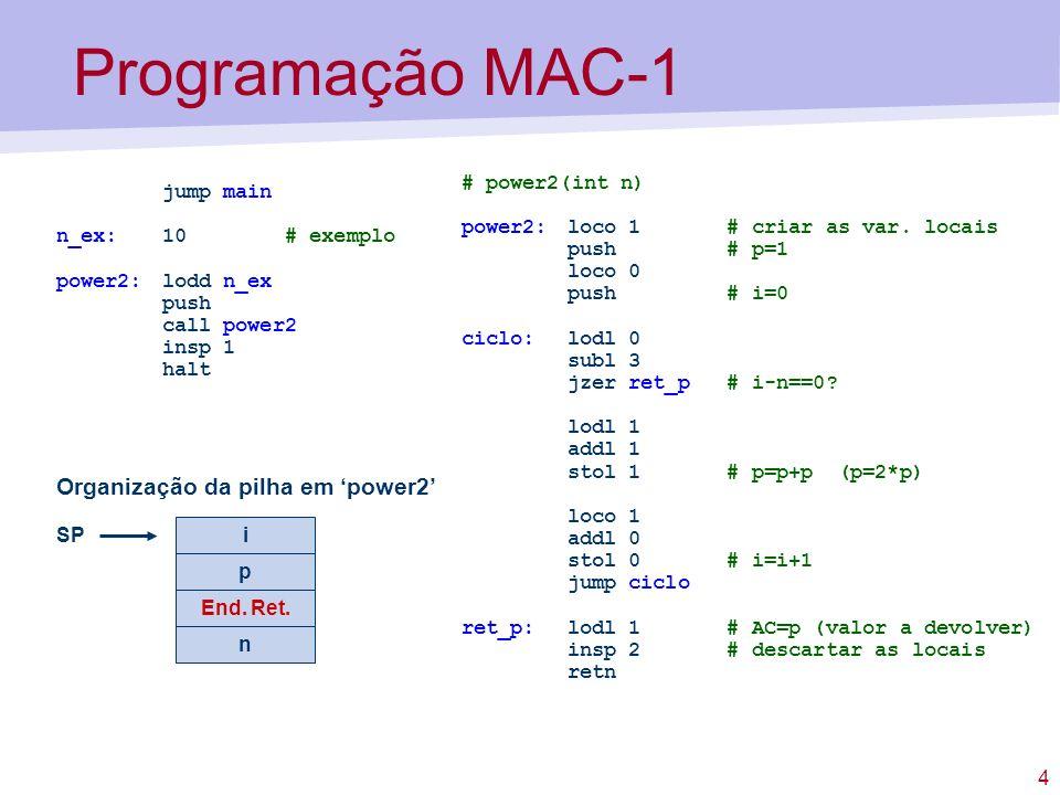 4 Programação MAC-1 jump main n_ex:10 # exemplo power2: lodd n_ex push call power2 insp 1 halt # power2(int n) power2: loco 1 # criar as var. locais p
