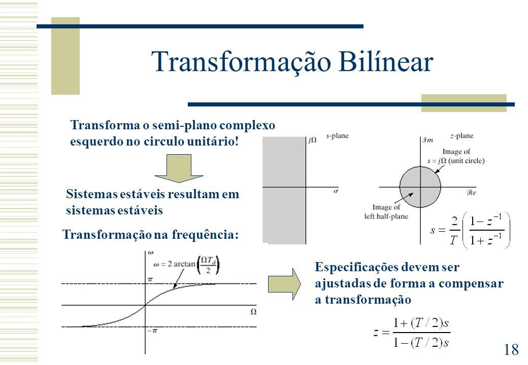18 Transformação Bilínear Transforma o semi-plano complexo esquerdo no circulo unitário! Sistemas estáveis resultam em sistemas estáveis Transformação