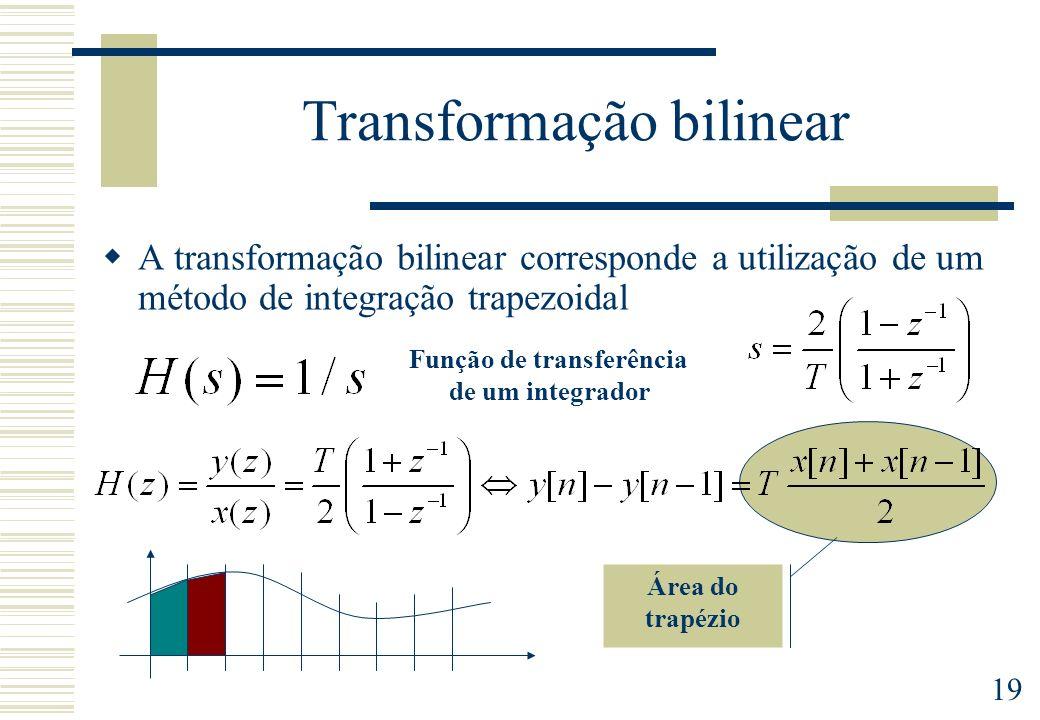 19 Transformação bilinear A transformação bilinear corresponde a utilização de um método de integração trapezoidal Função de transferência de um integ