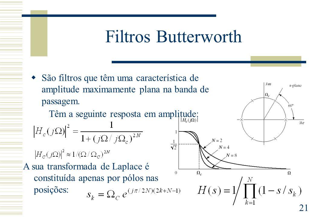 21 Filtros Butterworth São filtros que têm uma característica de amplitude maximamente plana na banda de passagem. Têm a seguinte resposta em amplitud