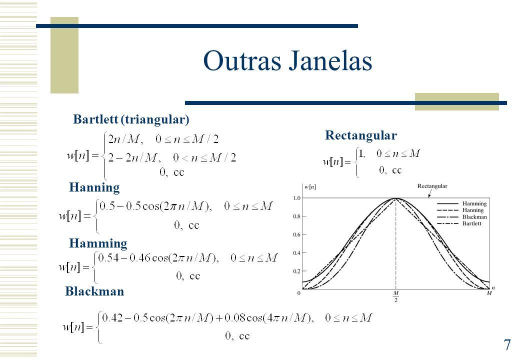 7 Outras Janelas Rectangular Bartlett (triangular) Hanning Hamming Blackman