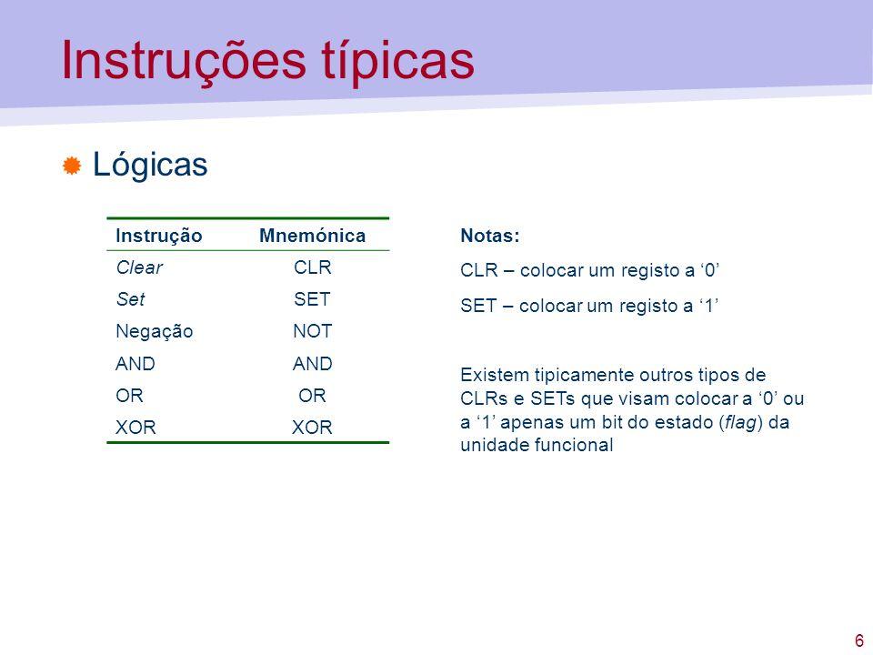 17 Formatos de instrução Como maximizar o número de instruções do conjunto.
