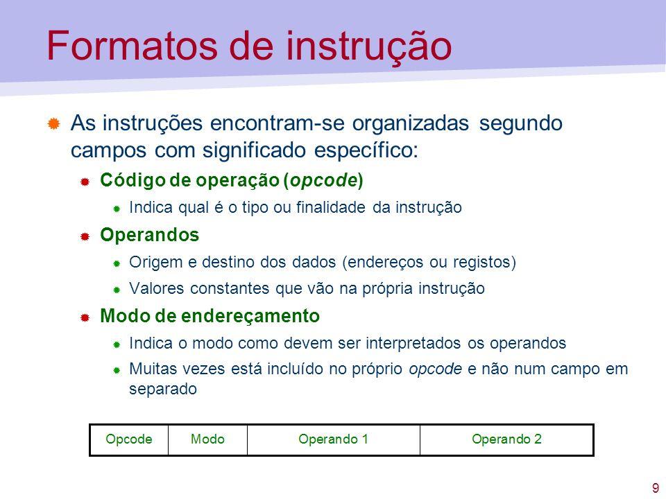 10 Formatos de instrução Exemplos de algumas instruções já conhecidas LODD x LOCO c INSP y