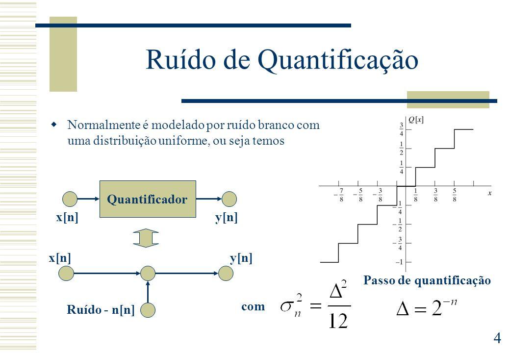 5 Filtros FIR Realização directa Linha de atraso Combinador linear Permite a utilização de um acumulador de maior número de bits, reduzindo o erro de quantificação a um arredondamento final