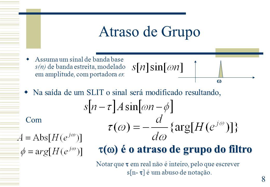 9 Filtros FIR de Fase Linear (Generalizada) Resposta em frequência: não há distorção de fase Atraso de grupo constante (não há distorção de fase): =0 Fase estritamente linear Tipo I Tipo II Tipo I Tipo II Tipo III Tipo IV d – atraso de grupo (em amostras) = /2