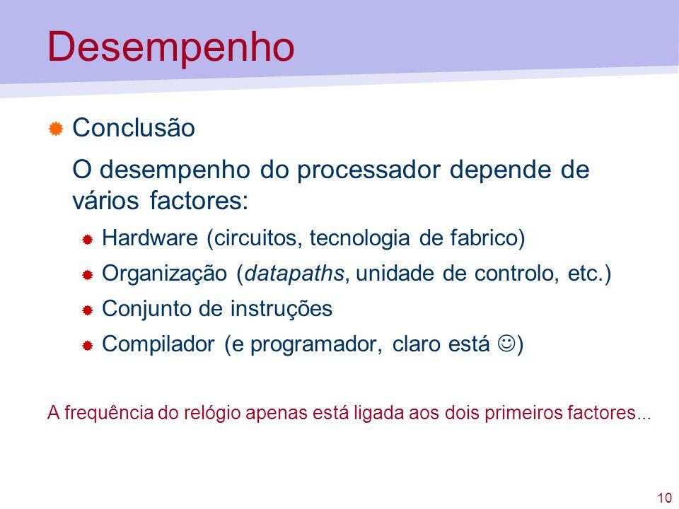 10 Desempenho Conclusão O desempenho do processador depende de vários factores: Hardware (circuitos, tecnologia de fabrico) Organização (datapaths, un
