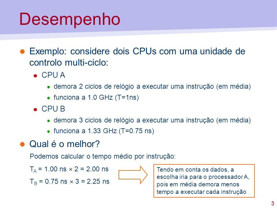 3 Desempenho Exemplo: considere dois CPUs com uma unidade de controlo multi-ciclo: CPU A demora 2 ciclos de relógio a executar uma instrução (em média