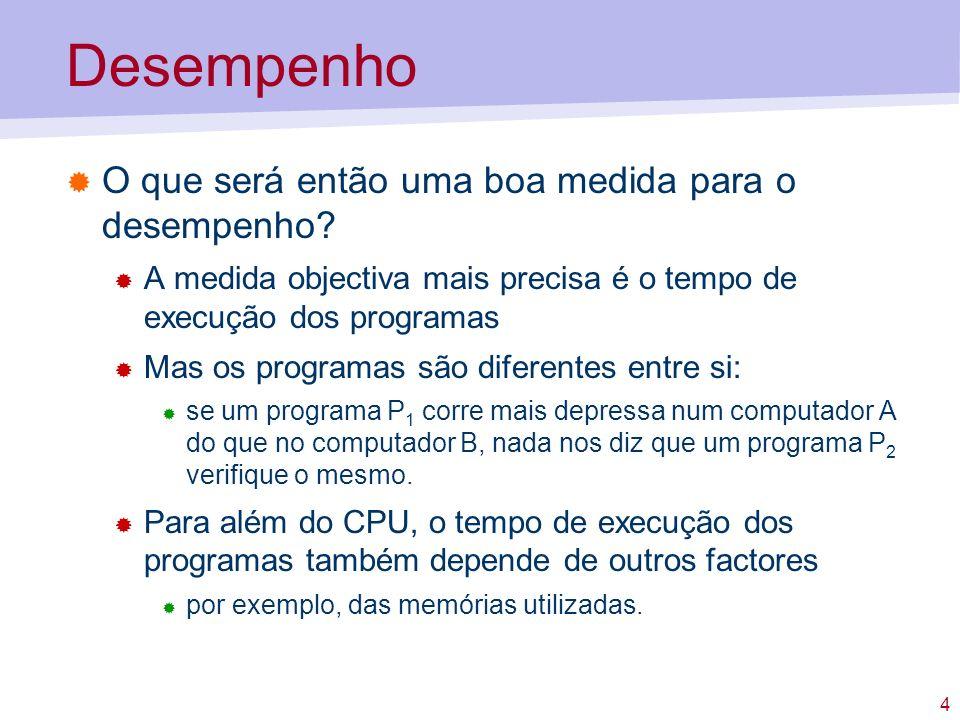 4 Desempenho O que será então uma boa medida para o desempenho? A medida objectiva mais precisa é o tempo de execução dos programas Mas os programas s