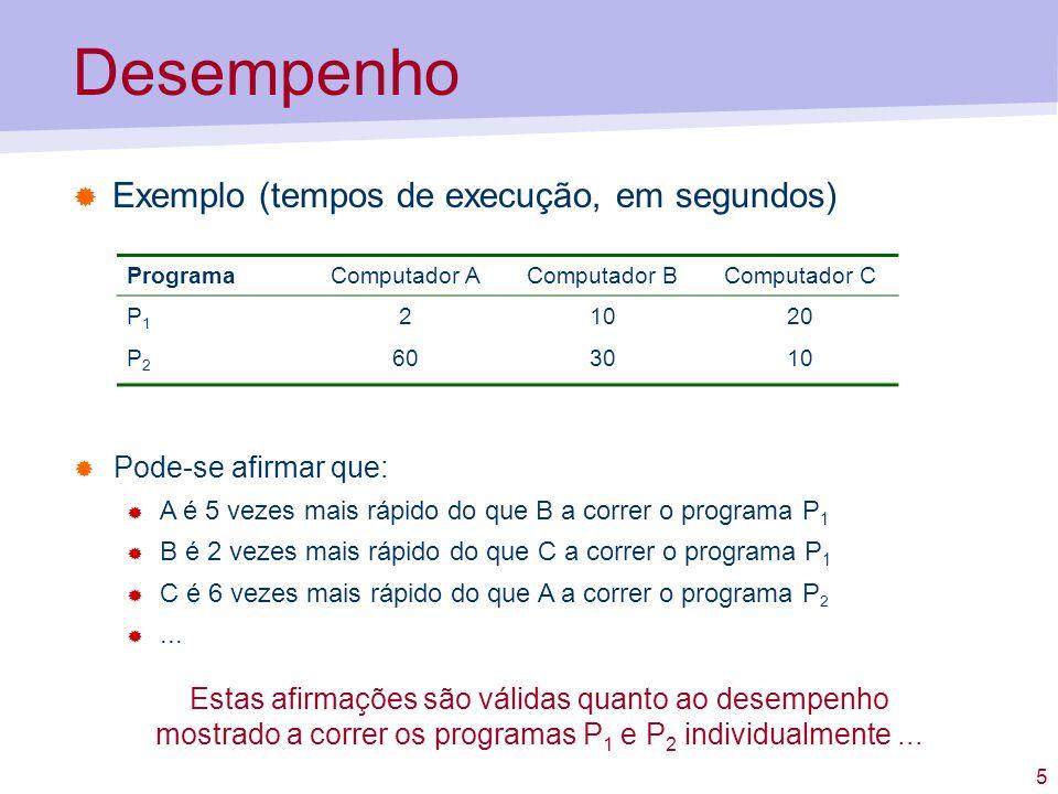 5 Desempenho Exemplo (tempos de execução, em segundos) ProgramaComputador AComputador BComputador C P1P1 21020 P2P2 603010 Pode-se afirmar que: A é 5