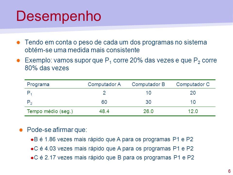 6 Desempenho Tendo em conta o peso de cada um dos programas no sistema obtém-se uma medida mais consistente Exemplo: vamos supor que P 1 corre 20% das